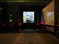 B (roadscum) Tags: door b light england night yard dark open 4 warehouse redlight coldstore hertfordshire lorries loadingbay boredshitless