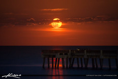 Glowing Moon Rise Over Juno Beach Pier (Captain Kimo) Tags: moon florida fullmoon moonrise palmbeachcounty junobeach junobeachpier captainkimo