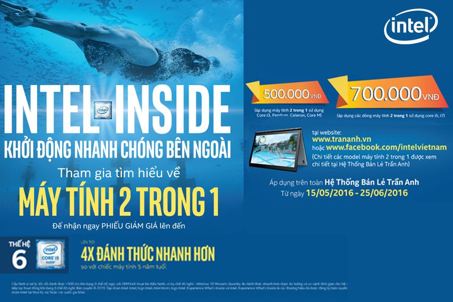 Tặng phiếu giảm giá khi mua máy tính 2 trong 1 của Intel tại Trần Anh