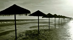 Sombrillas de agua. Islantilla, Huelva, Andaluca. Spain (robertdaguerre) Tags: beach relax andaluca huelva playa airelibre monocromtico islantilla