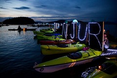 Small holding light panels at  Luminary flotilla Seattle PI and associated press at Break Free PNW 2016 photo by GRANT HINDSLEY 1024x1024 (Backbone Campaign) Tags: water justice washington energy kayak break action politics protest creative paddle shell free social demonstration oil change wa environment activism anacortes campaign pnw refinery climatechange climate tesoro artful backbone renewable refineries 2016 kayaktivist kayaktivism breakfreepnw