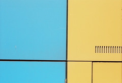 Colston (joshuacolephoto) Tags: street city blue abstract color texture yellow wall bristol vent hall nikon panel kodak 55mm 400 micro panels nikkor simple portra minimalist sunnyday fe2 colston portra400 streetwalk koday