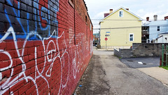 Bloomfield alley wall (real00) Tags: city urban wall landscape graffiti alley pittsburgh pennsylvania neighborhood tagging urbanlandscape rustbelt westernpennsylvania 2000s 2016 alleghenycounty 2010s pittsburghregion willreal williamreal bloomfieldpittsburghpa