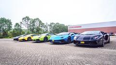 Five in a row (Anthony van Pelt) Tags: blue black green cars coffee yellow nikon dordrecht lamborghini supercar sv roadster novitec 1685 carsandcoffee superveloce torado autogespot d7000 aventador lp7004 baanvelgen lp7504