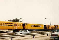 CTA Maintenance  Train Circa 1982 (trainphotoz) Tags: cta worktrain maintenancetrain mow mofw chicagotransitauthority kennedy kennedyexpressway blueline westnorthwestline congressmilwaukee douglasmilwaukee