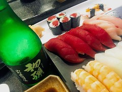 Sushi dinner paired with Sake from Yamagata, Japan  (ruri grant) Tags: tekkamaki  tuna maguro   nigiri       comfortfood dinner japan yamagata sake japanesefood sushi