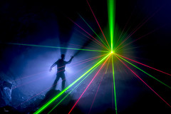 Subterranean Light Painter (Waving lights in the dark) Tags: subterranean lightpainter cave dark afterdark nightphotography night backlit backlight silhouette laser lasers green greenlaser redlaser wavinglightsinthedark collaboration neerdowell ledlenser x21r2 underground