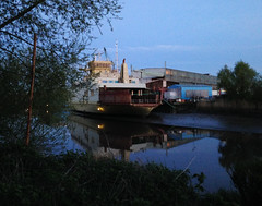 Lost place - at the old Sietas shipyard in Hamburg (roomman) Tags: water strange port germany lost evening place harbour alt hamburg atmosphere hamburger remote lonely shipyard hafen alster elbe 2015 werft lostplace sietwas