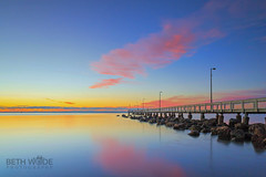 (Beth Wode Photography) Tags: clouds sunrise reflections dawn pier beth jetty redlands pinkclouds moretonbay wellingtonpoint wode wellingtonpointjetty bethwode