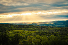 The Sun Setting Over the Trees in the Hudson Valley (lgloeck) Tags: new york trees sunset sky cloud sun tree beautiful up clouds forest landscape golden pretty peace open outdoor sony hills rochester valley zen hudson rays overlook forests paltz reveal sunsetting minnewaska a6000