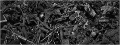 Scrapyard, Tyldesley (Pitheadgear) Tags: uk blackandwhite bw cars monochrome metal northwest transport machinery vehicles engines vans scrapyard recycling scrap astley scrapyards tyldesley