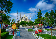 Blue Mosque in Istanbul, Turkey (` Toshio ') Tags: park trees people turkey bench square islam istanbul mosque bluemosque minarets toshio sultanahmedmosque sultanahmetsquare xe2 fujixe2