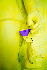 Semaine 20 : bateau (christine stein) Tags: yellow jaune paper boat bateau papier
