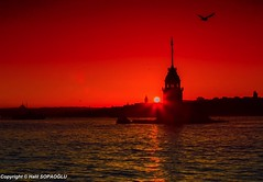 Maiden's Tower (Halil Sopaolu HN I Photography) Tags: mosque sultanahmetmosque water tower europeanside bestshot best skdar kzkulesi maidenstower red golden sky sunset silhouettes travel architectural greatshot turkey skyline outdoor buildings sun istanbulfotoraflar follow monfrotto color colorfull copyright photography photofday photo sea 6d flickr flickrphoto halil2016 historicalbuilding like4like like likeforlike landscape light istanbul canoneos6d canon canonphotography canonllenses city citycape visit nicepicture boat vehicle serene