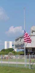 Half-staff for Pulse (jjackowski) Tags: vab kennedyspacecenter crawler rawtherapee canonef85mmf18usm flag halfstaff