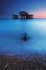 Brighton Old Pier (-*HJS*-) Tags: ocean uk sunset sea england sky beach water weather canon landscape coast pier lowlight brighton colours seascapes tide tripod ngc pebbles westpier fullframe eastsussex manfrotto slowshutterspeed 2016 1635mm leefilters beacheslandscapes 5dmk2 bigstopper