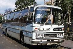 08-77 MHL322P Blue Line Ford R1114 at Christ Church Doncaster. (dubdee) Tags: ford blueline 1040 duple sypte r1114 samuelmorganltd