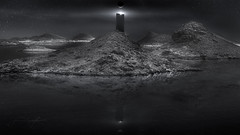SITE ZERO (Titanium007) Tags: nightphotography fiction sea panorama reflection water monochrome mystery night stars space uae lakes fantasy scifi monolith unitedarabemirates mattepainting delmaisland