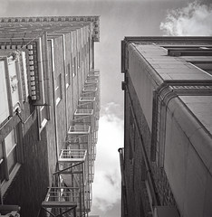 Rolleicord ArtDeco Looking Up (rrunnertexas) Tags: rolleicord artdeco model rollei buildings vintage fireescape film ilford iso50 bw blackandwhite rodinal standdeveloped
