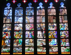 Details of stained glass window in the collegiale church of St-Aubin de Gurande (Sokleine) Tags: france heritage church catholic interior religion stainedglass vitrail glise 44 gurande paysdeloire loireatlantique culte