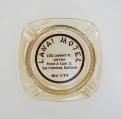 Lanai Motel Ashtray - San Francisco, CA (hmdavid) Tags: sanfrancisco california glass vintage advertising design motel ashtray tiki lanai midcentury