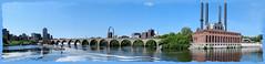 MISSISSIPPI PANORAMA and Stone Arch Bridge... FROM MINNEAPOLIS QUEEN (strandviewphotos) Tags: bridge panorama minnesota river minneapolis mississippiriver paddleboat mississippiqueen stonearchbridge top20bridges