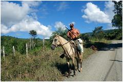 Somewhere in Costa Rica (SergeK ) Tags: blue sky horse cloud landscape cheval costarica bleu ciel farmer nuages paysage habitant costarican sergek costaricain fermie