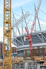 Heavy Construction (Grant Mattice Photography) Tags: work britishcolumbia cities vancouverbc towercranes ironworkers bcplacestadium vancouverconstruction constructionphotography industrialimages grantmatticephotography