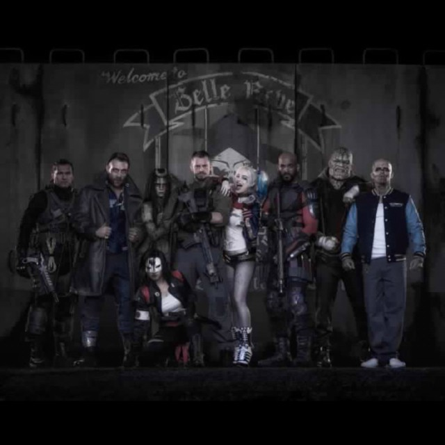 Task Force X - A.K.A The SUICIDE SQUAD. From left to right, Slipknot, Captain Boomerang, Enchantress, Katana, Rick Flagg, Harley Quinn, Deadshot, Killer Croc, and El Diablo.