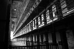 Cell Block - B&W (RichKD) Tags: old light shadow ohio bw white black history movie point state perspective location haunted creepy prison vanishing cells dilapidated redemption jails baw shawshank reformatory
