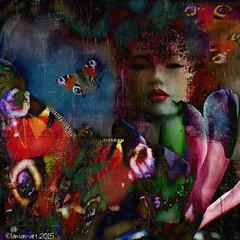 Illusive dreams (Lemon~art) Tags: woman flower texture mannequin composite butterfly square manipulation illusion dreams illusive