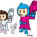 Pink & Blue Super Pop B-Pop Poster Image Super Pee Wee Kids Superhero Comic Cartoon