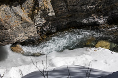 Early spring melt, Johnston Canyon, Banff, Alberta (Jim 03) Tags: blue lake snow mountains ice wall creek river melting path turquoise jim canyon louise covered alberta bow banff icicles johnston jimhoffman jhoffman jim03 wwwflickrcomphotosjhoffman2013 wwwjimahoffmancom
