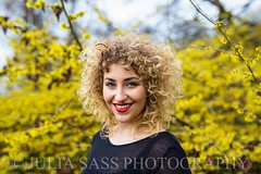 DOROTHEA (Julia Sass Photography) Tags: flowers portrait woman girl beauty smile fashion yellow female portraits hair happy spring background lifestyle style curls portrt lipstick yellowflowers lcheln portrts