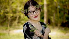 Blumenmdchen (carla_hauptmann) Tags: wood flowers girl outside happy 50mm dress sony blossoms blumen brille wald mdchen a77 glcklich glases kleid f17 kitzingen drausen groslandheim florakeller