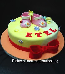 Baby booties and pacifier cake (pinkvanillacakes@outlook.sg) Tags: babyshoes babybooties babyshowercake fullmonthcake singapore3dcakes
