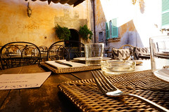Ses Salines, Mallorca (feario.com) Tags: restaurant pflanze gabel tisch mallorca glas stuhl spanien