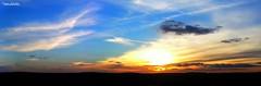 Sunset on Meuse valley (Setsukoh) Tags: blue light sunset sky panorama cloud sun black france color silhouette yellow jaune sunrise skyscape landscape soleil frankreich colorful noir lumire horizon coucher grand line bleu ciel valley maas scape nuage paysage sonne lorraine couleur est ligne meuse panoramique color verdun valle lev grandest brochall