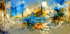 Have you remembrances, the glimmering arches that span the summits of the mind? (Watercolour edition) (saharsh) Tags: panorama art photography dubai uae mosque watercolour abu dhabi