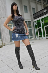 Chrissi 05 (The Booted Cat) Tags: sexy girl model legs boots jeans heels miniskirt overknee demin higheels