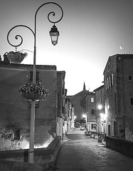 Last morning (edwham) Tags: france languedoc night morning street lamp church empty crescent moon earlymorning peaceonearth quiet peaceful aurevoir tresgentille
