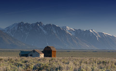 Mormon Row morning (creativegenius5) Tags: old mountains nature landscape barns yellowstone wyoming tetons