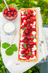 Orange Curd Tart with Vanilla Strawberries (dolphy_tv) Tags: red summer food orange white green grass cake fruit cheese vintage bench pie crust table dessert cuisine wooden leaf strawberry berry picnic sweet background rustic cream mint tasty bowl fresh gourmet delicious homemade pastry vanilla flan custard ricotta stool creamcheese tart quark baked curd whipped mascarpone nobake strawberrytart strawberrycake shortcrust