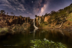 Cosmic cascade (Rob Reaburn Photography) Tags: longexposure pool night reflections river stars waterfall nightscape australia victoria moonlit galaxy moonlight gorge cascade constellations celestial milkyway plungepool galacticcore