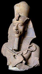 Ancient Egypt. Portrait of Akhenaten,  whose original name was Amenhotep IV,  Egyptian Pharaoh of the Eighteenth Dynasty, the first Monotheist (mike catalonian) Tags: portrait sculpture male pharaoh halflength akhenaten ancientegypt xviiidynasty xivcenturybce