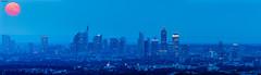 Rising Moon over ECB Frankfurt (hanslook) Tags: panorama availablelight moonrise frankfurtmain frankfurtskyline a7r2 ef500mkii