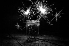 Happy Day (tonyajbender) Tags: sparklers fireworks blackandwhite contrast light fire jar celebrate independence country photochallenge2016
