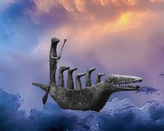 Sueos de cocodrilo - Crocodile dreams (gabthewanderer) Tags: crocodile elcocodrilo leonoracarrington estatua statue surrealism surrealphotography conceptual conceptualphotography barcadecocodrilo nubes clouds cloudy cloudysky
