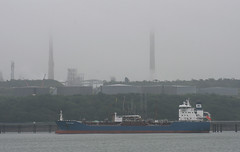 Misty Milford Haven (Camperman64) Tags: milfordhaven fog mist tanker ship refinery chimneys dull weather pembrokeshire sirpenfro wales cymru brodeliverer