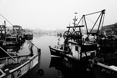Mist at the Barbican. (JamieHaugh) Tags: plymouth devon barbican waterfront harbour boats mist water sky buildings outdoor outdoors blackandwhite blackwhite monochrome england sony a6000